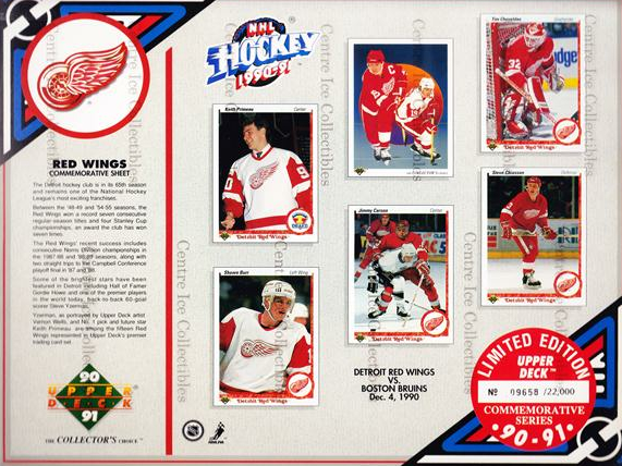 1990-91 Upper Deck Sheets #2 Keith Primeau, Shawn Burr, Steve Yzerman, Jimmy Carson, Tim Cheveldae, Steve Chiasson<br/>3 In Stock - $10.00 each - <a href=https://centericecollectibles.foxycart.com/cart?name=1990-91%20Upper%20Deck%20Sheets%20%232%20Keith%20Primeau,%20...&price=$10.00&code=581807 class=foxycart> Buy it now! </a>
