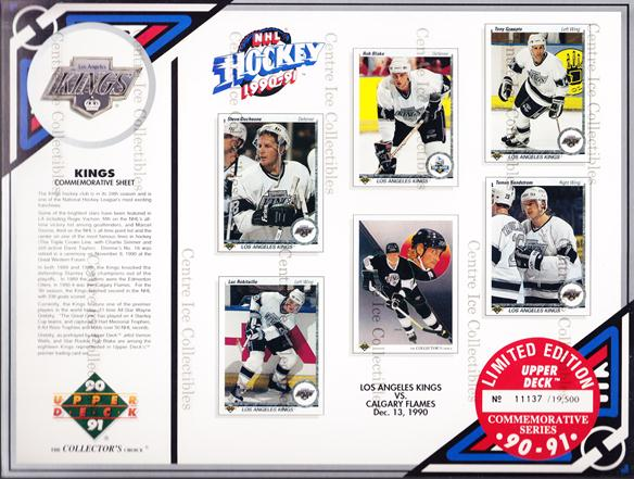 1990-91 Upper Deck Sheets #3 Steve Duchesne, Luc Robitaille, Rob Blake, Wayne Gretzky, Tony Granato, Tomas Sandstrom<br/>13 In Stock - $10.00 each - <a href=https://centericecollectibles.foxycart.com/cart?name=1990-91%20Upper%20Deck%20Sheets%20%233%20Steve%20Duchesne,...&quantity_max=13&price=$10.00&code=581808 class=foxycart> Buy it now! </a>