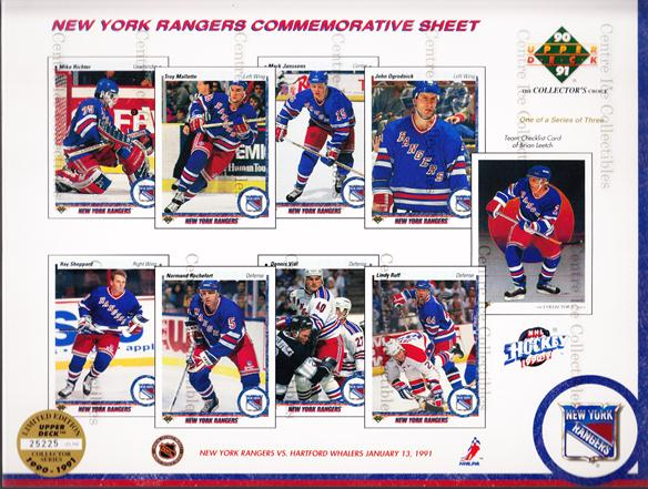 1990-91 Upper Deck Sheets #4 Mike Richter, Ray Sheppard, Troy Mallette, Normand Rochefort, Mark Janssens, Dennis Vial, John Ogrodnick, Lindy Ruff, Brian Leetch<br/>3 In Stock - $10.00 each - <a href=https://centericecollectibles.foxycart.com/cart?name=1990-91%20Upper%20Deck%20Sheets%20%234%20Mike%20Richter,%20R...&quantity_max=3&price=$10.00&code=581809 class=foxycart> Buy it now! </a>