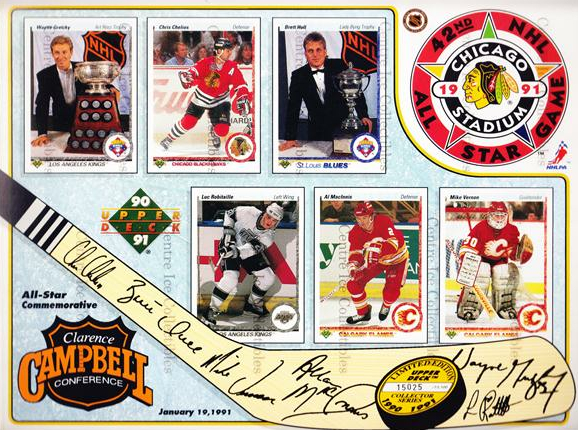 1990-91 Upper Deck Sheets #6 Wayne Gretzky, Chris Chelios, Luc Robitaille, Brett Hull, Al MacInnis, Mike Vernon<br/>2 In Stock - $10.00 each - <a href=https://centericecollectibles.foxycart.com/cart?name=1990-91%20Upper%20Deck%20Sheets%20%236%20Wayne%20Gretzky,%20...&price=$10.00&code=581811 class=foxycart> Buy it now! </a>