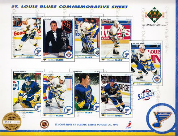1990-91 Upper Deck Sheets #8 Jeff Brown, Vincent Riendeau, Brent Hull, Paul Cavallini, Curtis Joseph, Gino Cavallini, Adam Oates, Scott Stevens, Rod Brind'Amour<br/>37 In Stock - $10.00 each - <a href=https://centericecollectibles.foxycart.com/cart?name=1990-91%20Upper%20Deck%20Sheets%20%238%20Jeff%20Brown,%20Vin...&quantity_max=37&price=$10.00&code=581813 class=foxycart> Buy it now! </a>