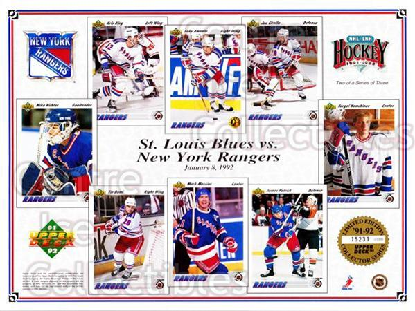 1991-92 Upper Deck Sheets #9 Mike Richter, Kris King, Tie Domi, Tony Amonte, Mark Messier, Joe Cirella, James Patrick, Sergei Nemchinov<br/>32 In Stock - $10.00 each - <a href=https://centericecollectibles.foxycart.com/cart?name=1991-92%20Upper%20Deck%20Sheets%20%239%20Mike%20Richter,%20K...&quantity_max=32&price=$10.00&code=581822 class=foxycart> Buy it now! </a>