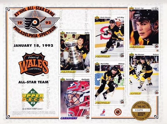 1991-92 Upper Deck Sheets #12 Mario Lemieux, Patrick Roy, Kevin Stevens, Paul Coffey, Jaromir Jagr, Ray Bourque<br/>12 In Stock - $10.00 each - <a href=https://centericecollectibles.foxycart.com/cart?name=1991-92%20Upper%20Deck%20Sheets%20%2312%20Mario%20Lemieux,%20...&price=$10.00&code=581825 class=foxycart> Buy it now! </a>