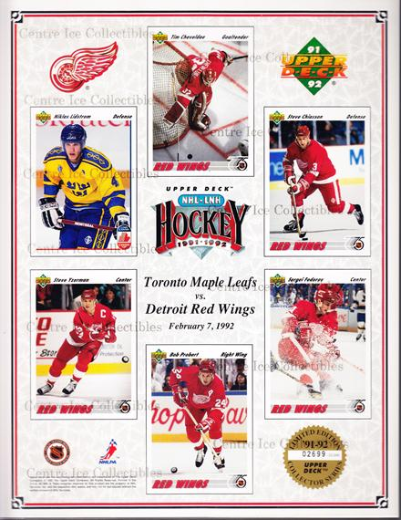 1991-92 Upper Deck Sheets #13 Nicklas Lidstrom, Steve Yzerman, Tim Cheveldae, Bob Probert, Steve Chiasson, Sergei Fedorov<br/>8 In Stock - $10.00 each - <a href=https://centericecollectibles.foxycart.com/cart?name=1991-92%20Upper%20Deck%20Sheets%20%2313%20Nicklas%20Lidstro...&price=$10.00&code=581826 class=foxycart> Buy it now! </a>