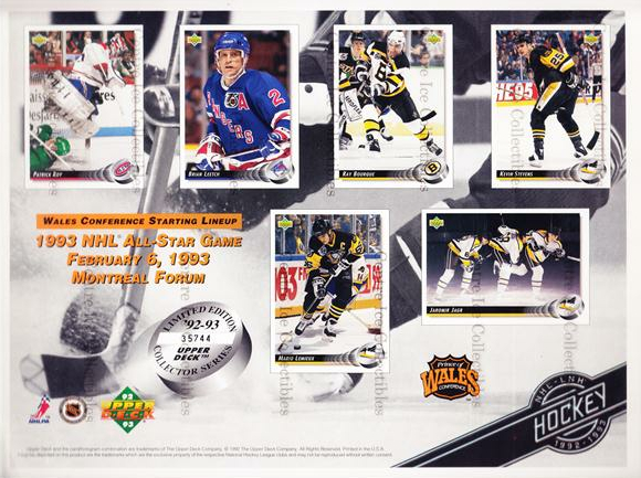 1992-93 Upper Deck Sheets #6 Patrick Roy, Brian Leetch, Ray Bourque, Kevin Stevens, Mario Lemieux, Jaromir Jagr<br/>8 In Stock - $10.00 each - <a href=https://centericecollectibles.foxycart.com/cart?name=1992-93%20Upper%20Deck%20Sheets%20%236%20Patrick%20Roy,%20Br...&price=$10.00&code=581834 class=foxycart> Buy it now! </a>