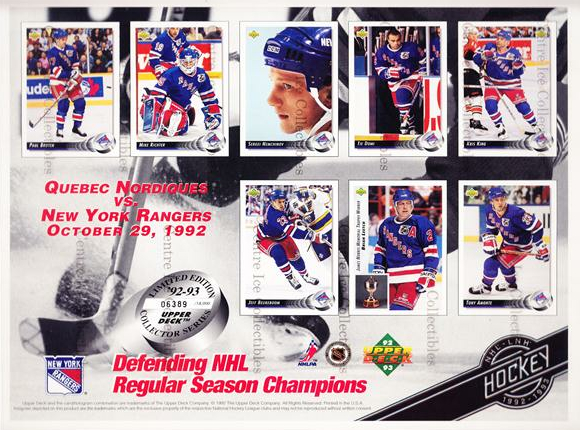 1992-93 Upper Deck Sheets #9 Paul Broten, Mike Richter, Sergei Nemchinov, Tie Domi, Kris King, Jeff Beaukeboom, Brian Leetch, Tony Amonte<br/>13 In Stock - $10.00 each - <a href=https://centericecollectibles.foxycart.com/cart?name=1992-93%20Upper%20Deck%20Sheets%20%239%20Paul%20Broten,%20Mi...&quantity_max=13&price=$10.00&code=581837 class=foxycart> Buy it now! </a>