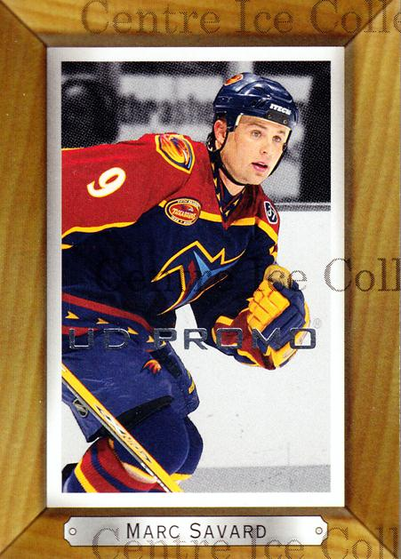 2003-04 Beehive UD Promos #9 Marc Savard<br/>1 In Stock - $3.00 each - <a href=https://centericecollectibles.foxycart.com/cart?name=2003-04%20Beehive%20UD%20Promos%20%239%20Marc%20Savard...&quantity_max=1&price=$3.00&code=582097 class=foxycart> Buy it now! </a>