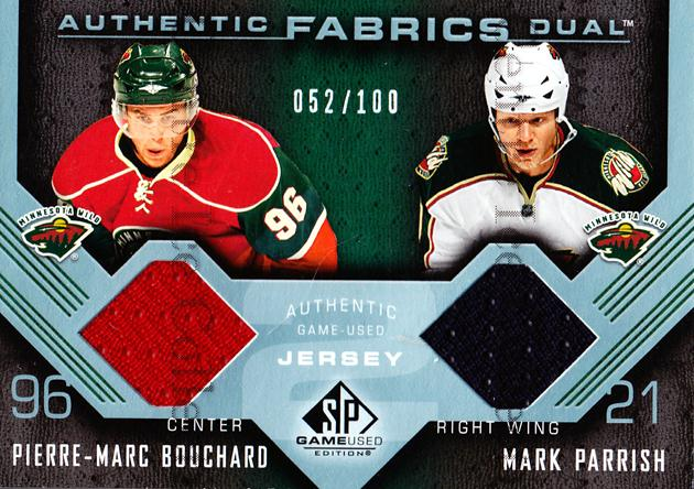 2007-08 SP Game Used Authentic Fabrics Duals #AF2PB Mark Parrish, Pierre-Marc Bouchard<br/>1 In Stock - $5.00 each - <a href=https://centericecollectibles.foxycart.com/cart?name=2007-08%20SP%20Game%20Used%20Authentic%20Fabrics%20Duals%20%23AF2PB%20Mark%20Parrish,%20P...&quantity_max=1&price=$5.00&code=583073 class=foxycart> Buy it now! </a>