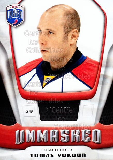 2009-10 Be A Player Unmasked #12 Tomas Vokoun<br/>1 In Stock - $3.00 each - <a href=https://centericecollectibles.foxycart.com/cart?name=2009-10%20Be%20A%20Player%20Unmasked%20%2312%20Tomas%20Vokoun...&quantity_max=1&price=$3.00&code=583776 class=foxycart> Buy it now! </a>