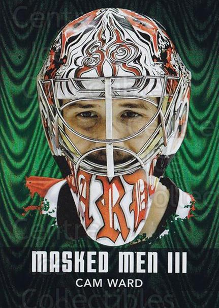 2010-11 Between The Pipes Masked Men III Emerald #8 Cam Ward<br/>1 In Stock - $5.00 each - <a href=https://centericecollectibles.foxycart.com/cart?name=2010-11%20Between%20The%20Pipes%20Masked%20Men%20III%20Emerald%20%238%20Cam%20Ward...&price=$5.00&code=583802 class=foxycart> Buy it now! </a>
