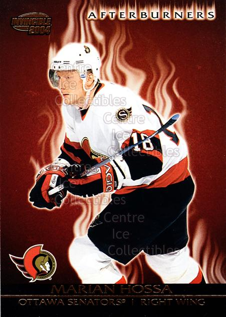 2003-04 Invincible Afterburners #8 Marian Hossa<br/>2 In Stock - $3.00 each - <a href=https://centericecollectibles.foxycart.com/cart?name=2003-04%20Invincible%20Afterburners%20%238%20Marian%20Hossa...&quantity_max=2&price=$3.00&code=583912 class=foxycart> Buy it now! </a>