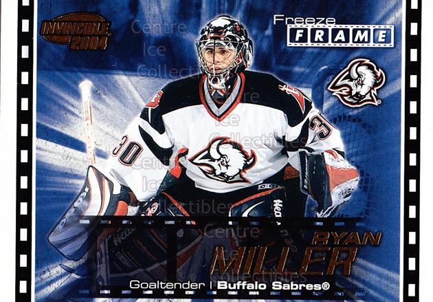 2003-04 Invincible Freeze Frame #2 Ryan Miller<br/>6 In Stock - $2.00 each - <a href=https://centericecollectibles.foxycart.com/cart?name=2003-04%20Invincible%20Freeze%20Frame%20%232%20Ryan%20Miller...&quantity_max=6&price=$2.00&code=583914 class=foxycart> Buy it now! </a>