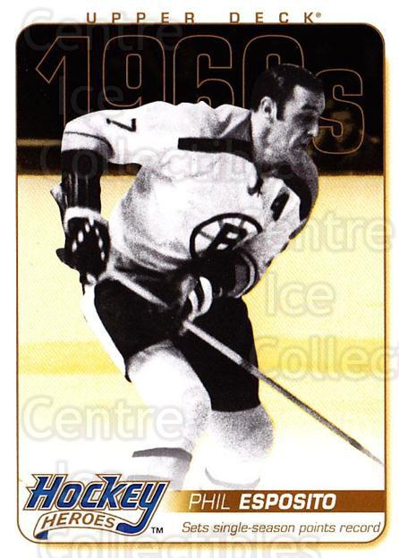 2011-12 Upper Deck Hockey Heroes #16 Phil Esposito<br/>3 In Stock - $3.00 each - <a href=https://centericecollectibles.foxycart.com/cart?name=2011-12%20Upper%20Deck%20Hockey%20Heroes%20%2316%20Phil%20Esposito...&quantity_max=3&price=$3.00&code=583978 class=foxycart> Buy it now! </a>