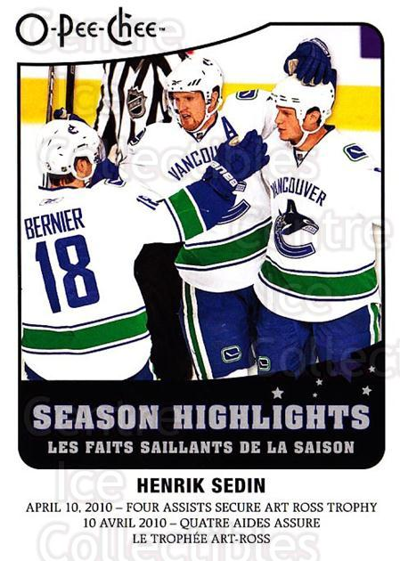 2010-11 O-Pee-Chee Season Highlights #11 Henrik Sedin<br/>2 In Stock - $2.00 each - <a href=https://centericecollectibles.foxycart.com/cart?name=2010-11%20O-Pee-Chee%20Season%20Highlights%20%2311%20Henrik%20Sedin...&quantity_max=2&price=$2.00&code=584143 class=foxycart> Buy it now! </a>