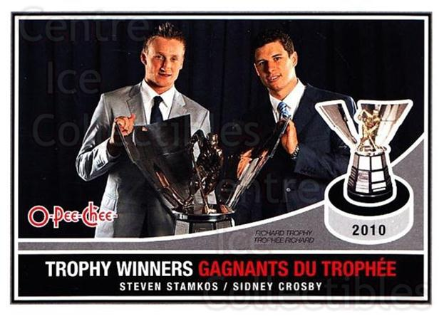 2010-11 O-Pee-Chee Trophy Winners #3 Steven Stamkos, Sidney Crosby<br/>3 In Stock - $5.00 each - <a href=https://centericecollectibles.foxycart.com/cart?name=2010-11%20O-Pee-Chee%20Trophy%20Winners%20%233%20Steven%20Stamkos,...&quantity_max=3&price=$5.00&code=584170 class=foxycart> Buy it now! </a>