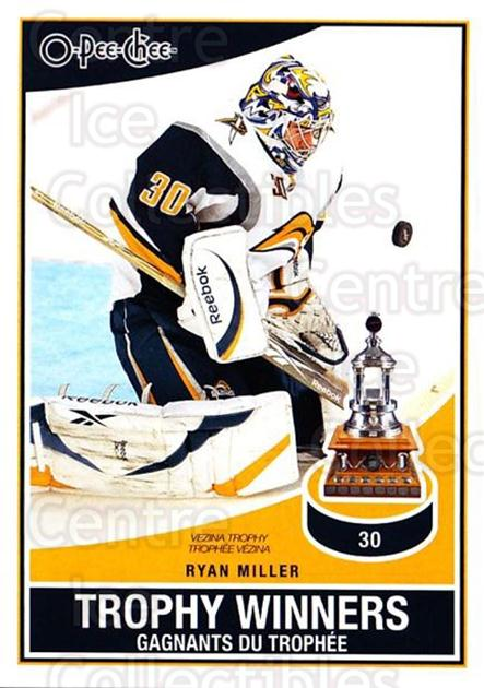 2010-11 O-Pee-Chee Trophy Winners #5 Ryan Miller<br/>1 In Stock - $2.00 each - <a href=https://centericecollectibles.foxycart.com/cart?name=2010-11%20O-Pee-Chee%20Trophy%20Winners%20%235%20Ryan%20Miller...&quantity_max=1&price=$2.00&code=584172 class=foxycart> Buy it now! </a>