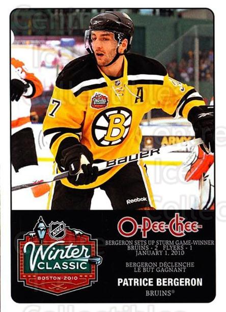 2010-11 O-Pee-Chee Winter Classic #12 Patrice Bergeron<br/>1 In Stock - $3.00 each - <a href=https://centericecollectibles.foxycart.com/cart?name=2010-11%20O-Pee-Chee%20Winter%20Classic%20%2312%20Patrice%20Bergero...&quantity_max=1&price=$3.00&code=584192 class=foxycart> Buy it now! </a>