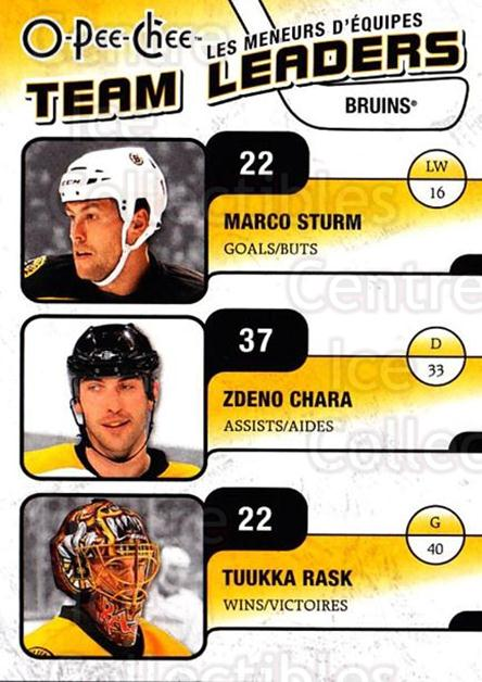 2010-11 O-Pee-Chee Team Leaders #3 Tuukka Rask, Zdeno Chara, Marco Sturm<br/>2 In Stock - $3.00 each - <a href=https://centericecollectibles.foxycart.com/cart?name=2010-11%20O-Pee-Chee%20Team%20Leaders%20%233%20Tuukka%20Rask,%20Zd...&quantity_max=2&price=$3.00&code=584199 class=foxycart> Buy it now! </a>