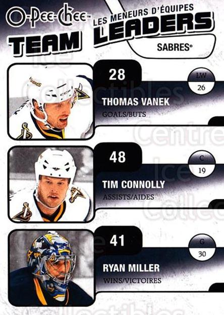 2010-11 O-Pee-Chee Team Leaders #4 Tim Connolly, Ryan Miller, Thomas Vanek<br/>2 In Stock - $2.00 each - <a href=https://centericecollectibles.foxycart.com/cart?name=2010-11%20O-Pee-Chee%20Team%20Leaders%20%234%20Tim%20Connolly,%20R...&quantity_max=2&price=$2.00&code=584200 class=foxycart> Buy it now! </a>