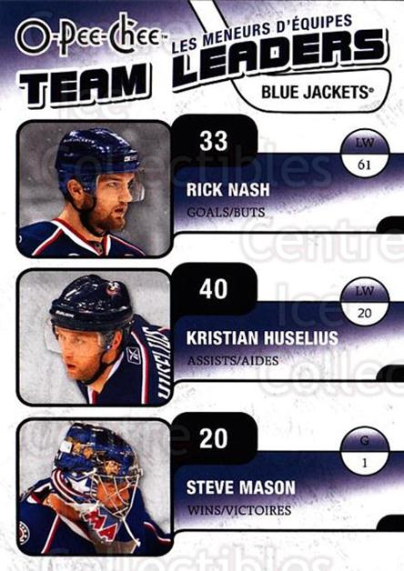 2010-11 O-Pee-Chee Team Leaders #9 Kristian Huselius, Steve Mason, Rick Nash<br/>4 In Stock - $2.00 each - <a href=https://centericecollectibles.foxycart.com/cart?name=2010-11%20O-Pee-Chee%20Team%20Leaders%20%239%20Kristian%20Huseli...&quantity_max=4&price=$2.00&code=584205 class=foxycart> Buy it now! </a>