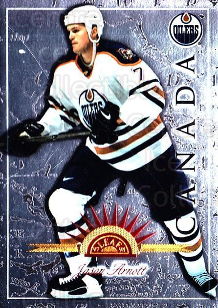 1997-98 Leaf International #61 Jason Arnott<br/>6 In Stock - $1.00 each - <a href=https://centericecollectibles.foxycart.com/cart?name=1997-98%20Leaf%20International%20%2361%20Jason%20Arnott...&quantity_max=6&price=$1.00&code=58421 class=foxycart> Buy it now! </a>