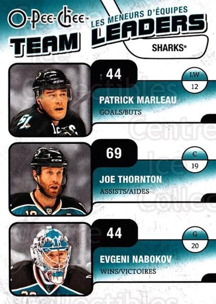 2010-11 O-Pee-Chee Team Leaders #25 Patrick Marleau, Joe Thornton, Evgeni Nabokov<br/>3 In Stock - $2.00 each - <a href=https://centericecollectibles.foxycart.com/cart?name=2010-11%20O-Pee-Chee%20Team%20Leaders%20%2325%20Patrick%20Marleau...&quantity_max=3&price=$2.00&code=584221 class=foxycart> Buy it now! </a>