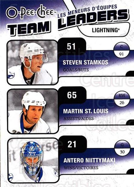 2010-11 O-Pee-Chee Team Leaders #27 Steven Stamkos, Antero Niittymaki, Martin St. Louis<br/>2 In Stock - $2.00 each - <a href=https://centericecollectibles.foxycart.com/cart?name=2010-11%20O-Pee-Chee%20Team%20Leaders%20%2327%20Steven%20Stamkos,...&price=$2.00&code=584223 class=foxycart> Buy it now! </a>