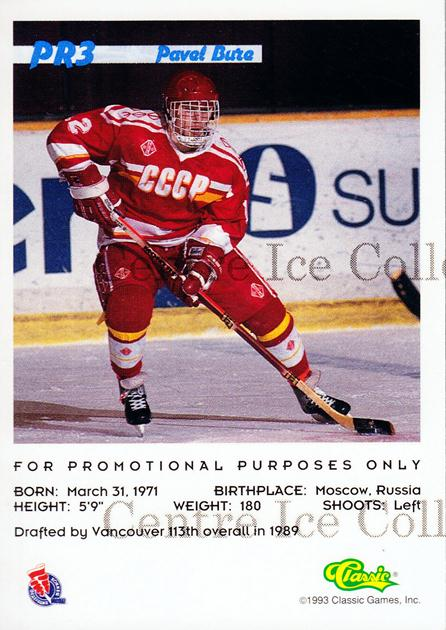 1993 Classic Hockey Draft Promos #PR3 Pavel Bure<br/>47 In Stock - $5.00 each - <a href=https://centericecollectibles.foxycart.com/cart?name=1993%20Classic%20Hockey%20Draft%20Promos%20%23PR3%20Pavel%20Bure...&quantity_max=47&price=$5.00&code=585255 class=foxycart> Buy it now! </a>