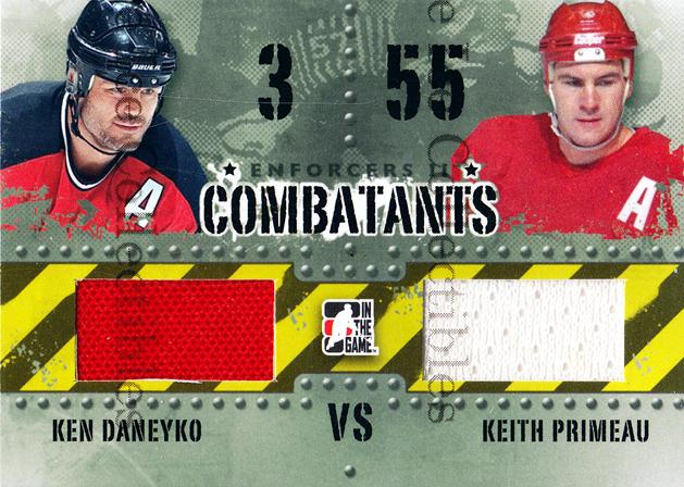 2013-14 ITG Enforcers Combatants Jersey #34 Ken Daneyko, Keith Primeau<br/>9 In Stock - $5.00 each - <a href=https://centericecollectibles.foxycart.com/cart?name=2013-14%20ITG%20Enforcers%20Combatants%20Jersey%20%2334%20Ken%20Daneyko,%20Ke...&quantity_max=9&price=$5.00&code=585486 class=foxycart> Buy it now! </a>