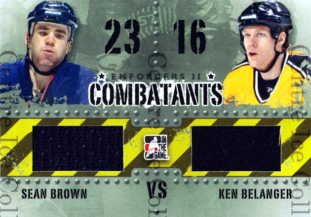 2013-14 ITG Enforcers Combatants Jersey #35 Sean Brown, Ken Belanger<br/>22 In Stock - $5.00 each - <a href=https://centericecollectibles.foxycart.com/cart?name=2013-14%20ITG%20Enforcers%20Combatants%20Jersey%20%2335%20Sean%20Brown,%20Ken...&quantity_max=22&price=$5.00&code=585487 class=foxycart> Buy it now! </a>