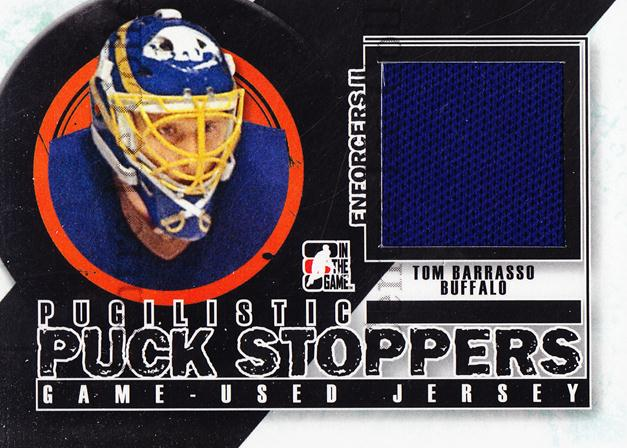 2013-14 ITG Enforcers Pugilistic Puck Stoppers Jersey #1 Tom Barrasso<br/>6 In Stock - $5.00 each - <a href=https://centericecollectibles.foxycart.com/cart?name=2013-14%20ITG%20Enforcers%20Pugilistic%20Puck%20Stoppers%20Jersey%20%231%20Tom%20Barrasso...&price=$5.00&code=585491 class=foxycart> Buy it now! </a>