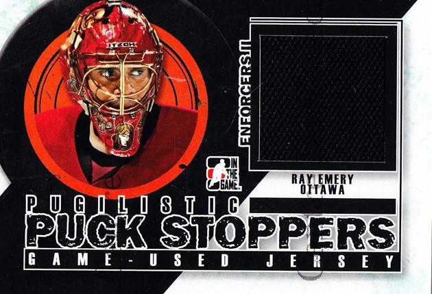 2013-14 ITG Enforcers Pugilistic Puck Stoppers Jersey #4 Ray Emery<br/>9 In Stock - $5.00 each - <a href=https://centericecollectibles.foxycart.com/cart?name=2013-14%20ITG%20Enforcers%20Pugilistic%20Puck%20Stoppers%20Jersey%20%234%20Ray%20Emery...&quantity_max=9&price=$5.00&code=585494 class=foxycart> Buy it now! </a>