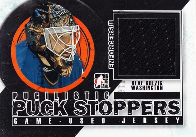 2013-14 ITG Enforcers Pugilistic Puck Stoppers Jersey #7 Olaf Kolzig<br/>8 In Stock - $5.00 each - <a href=https://centericecollectibles.foxycart.com/cart?name=2013-14%20ITG%20Enforcers%20Pugilistic%20Puck%20Stoppers%20Jersey%20%237%20Olaf%20Kolzig...&quantity_max=8&price=$5.00&code=585497 class=foxycart> Buy it now! </a>