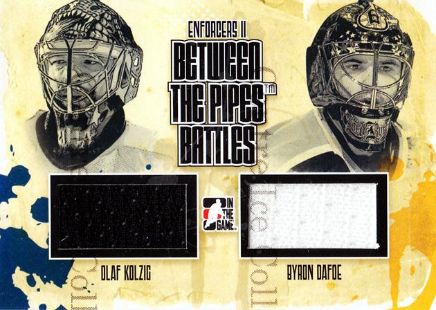 2013-14 ITG Enforcers BTP Battles Jersey #4 Olaf Kolzig, Byron Dafoe<br/>5 In Stock - $5.00 each - <a href=https://centericecollectibles.foxycart.com/cart?name=2013-14%20ITG%20Enforcers%20BTP%20Battles%20Jersey%20%234%20Olaf%20Kolzig,%20By...&quantity_max=5&price=$5.00&code=585530 class=foxycart> Buy it now! </a>