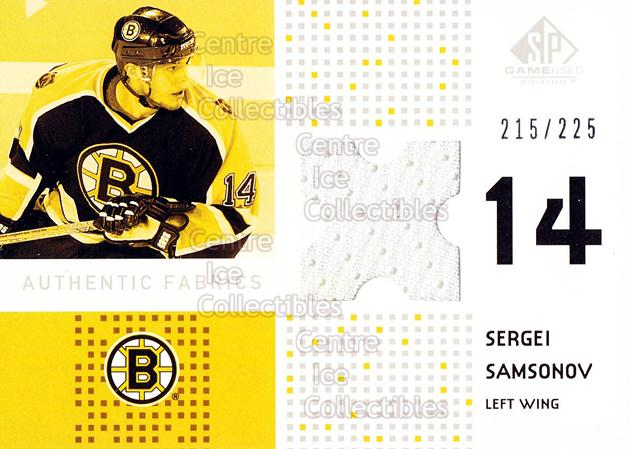 2002-03 SP Game Used Authentic Fabrics #AFSV Sergei Samsonov<br/>1 In Stock - $5.00 each - <a href=https://centericecollectibles.foxycart.com/cart?name=2002-03%20SP%20Game%20Used%20Authentic%20Fabrics%20%23AFSV%20Sergei%20Samsonov...&quantity_max=1&price=$5.00&code=586452 class=foxycart> Buy it now! </a>