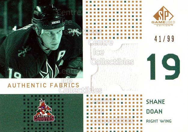 2002-03 SP Game Used Authentic Fabrics Gold #AFSD Shane Doan<br/>1 In Stock - $5.00 each - <a href=https://centericecollectibles.foxycart.com/cart?name=2002-03%20SP%20Game%20Used%20Authentic%20Fabrics%20Gold%20%23AFSD%20Shane%20Doan...&quantity_max=1&price=$5.00&code=586547 class=foxycart> Buy it now! </a>