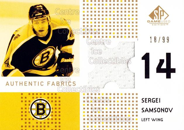 2002-03 SP Game Used Authentic Fabrics Gold #AFSS Sergei Samsonov<br/>1 In Stock - $5.00 each - <a href=https://centericecollectibles.foxycart.com/cart?name=2002-03%20SP%20Game%20Used%20Authentic%20Fabrics%20Gold%20%23AFSS%20Sergei%20Samsonov...&quantity_max=1&price=$5.00&code=586552 class=foxycart> Buy it now! </a>
