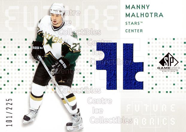 2002-03 SP Game Used Future Fabrics #FFMM Manny Malhotra<br/>1 In Stock - $5.00 each - <a href=https://centericecollectibles.foxycart.com/cart?name=2002-03%20SP%20Game%20Used%20Future%20Fabrics%20%23FFMM%20Manny%20Malhotra...&quantity_max=1&price=$5.00&code=586598 class=foxycart> Buy it now! </a>