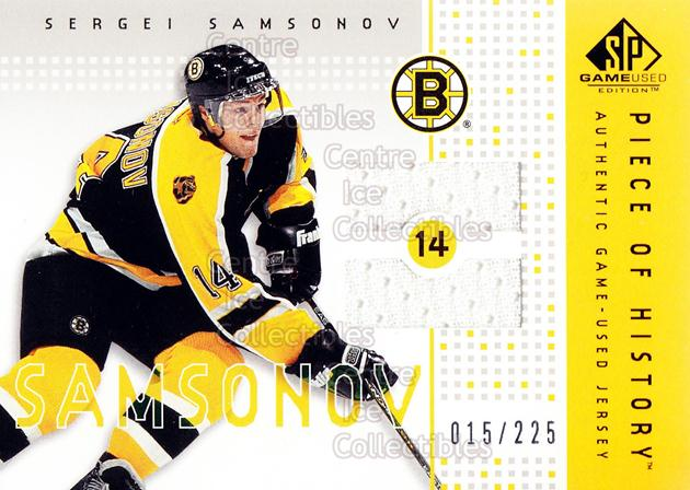 2002-03 SP Game Used Piece of History #PHSV Sergei Samsonov<br/>1 In Stock - $5.00 each - <a href=https://centericecollectibles.foxycart.com/cart?name=2002-03%20SP%20Game%20Used%20Piece%20of%20History%20%23PHSV%20Sergei%20Samsonov...&quantity_max=1&price=$5.00&code=586721 class=foxycart> Buy it now! </a>