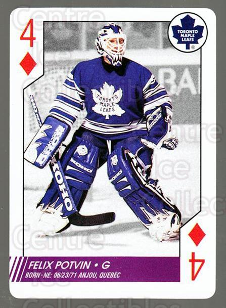 1997-98 NHL Aces Playing Card #43 Felix Potvin<br/>2 In Stock - $2.00 each - <a href=https://centericecollectibles.foxycart.com/cart?name=1997-98%20NHL%20Aces%20Playing%20Card%20%2343%20Felix%20Potvin...&quantity_max=2&price=$2.00&code=58698 class=foxycart> Buy it now! </a>
