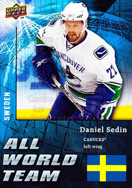 2009-10 Upper Deck All World Team #28 Daniel Sedin<br/>1 In Stock - $3.00 each - <a href=https://centericecollectibles.foxycart.com/cart?name=2009-10%20Upper%20Deck%20All%20World%20Team%20%2328%20Daniel%20Sedin...&price=$3.00&code=587354 class=foxycart> Buy it now! </a>