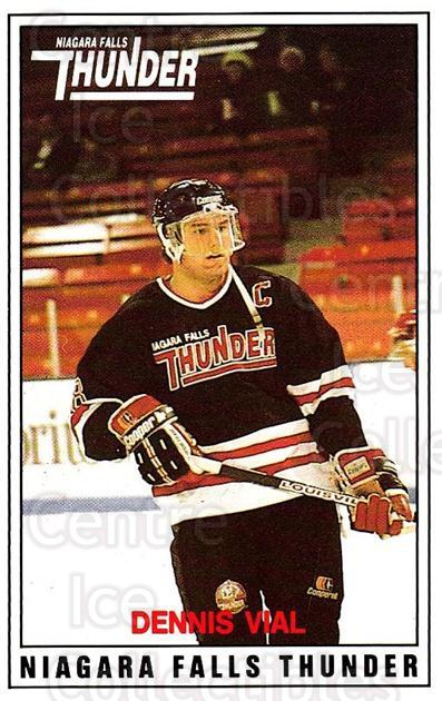 1988-89 Niagara Falls Thunder #7 Dennis Vial<br/>1 In Stock - $3.00 each - <a href=https://centericecollectibles.foxycart.com/cart?name=1988-89%20Niagara%20Falls%20Thunder%20%237%20Dennis%20Vial...&quantity_max=1&price=$3.00&code=588647 class=foxycart> Buy it now! </a>