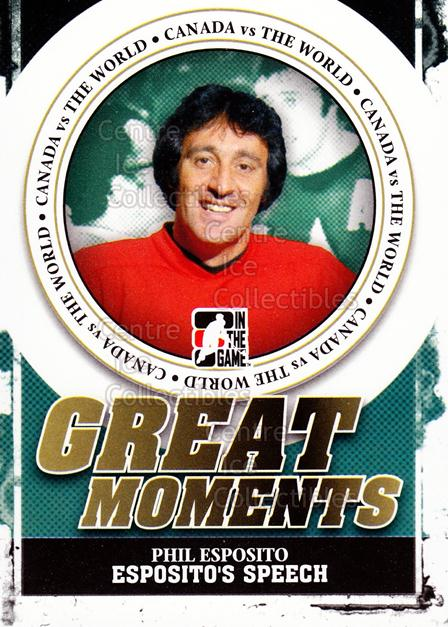 2011-12 ITG Canada vs The World Great Moments #1 Phil Esposito<br/>1 In Stock - $3.00 each - <a href=https://centericecollectibles.foxycart.com/cart?name=2011-12%20ITG%20Canada%20vs%20The%20World%20Great%20Moments%20%231%20Phil%20Esposito...&quantity_max=1&price=$3.00&code=589833 class=foxycart> Buy it now! </a>