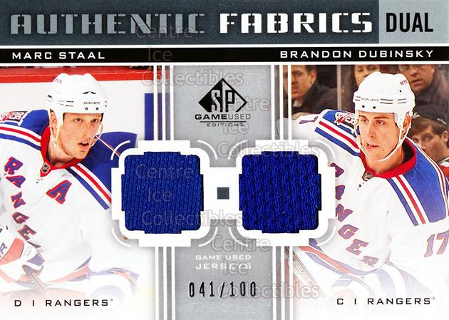 2011-12 Sp Game Used Authentic Fabrics Dual #AF2MB Marc Staal, Brandon Dubinsky<br/>1 In Stock - $5.00 each - <a href=https://centericecollectibles.foxycart.com/cart?name=2011-12%20Sp%20Game%20Used%20Authentic%20Fabrics%20Dual%20%23AF2MB%20Marc%20Staal,%20Bra...&quantity_max=1&price=$5.00&code=590142 class=foxycart> Buy it now! </a>