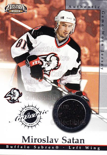 2002-03 Pacific Exclusive Jersey #3 Miroslav Satan<br/>1 In Stock - $5.00 each - <a href=https://centericecollectibles.foxycart.com/cart?name=2002-03%20Pacific%20Exclusive%20Jersey%20%233%20Miroslav%20Satan...&quantity_max=1&price=$5.00&code=591091 class=foxycart> Buy it now! </a>