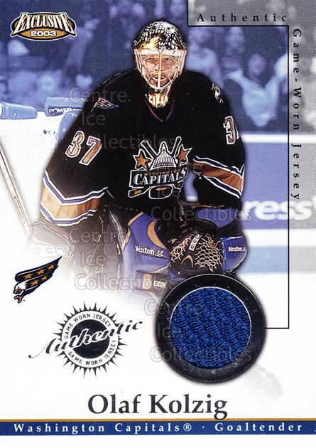 2002-03 Pacific Exclusive Jersey #25 Olaf Kolzig<br/>1 In Stock - $5.00 each - <a href=https://centericecollectibles.foxycart.com/cart?name=2002-03%20Pacific%20Exclusive%20Jersey%20%2325%20Olaf%20Kolzig...&quantity_max=1&price=$5.00&code=591113 class=foxycart> Buy it now! </a>