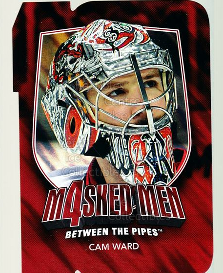 2011-12 Between The Pipes Masked Men 4 Ruby #49 Cam Ward<br/>3 In Stock - $3.00 each - <a href=https://centericecollectibles.foxycart.com/cart?name=2011-12%20Between%20The%20Pipes%20Masked%20Men%204%20Ruby%20%2349%20Cam%20Ward...&price=$3.00&code=592249 class=foxycart> Buy it now! </a>