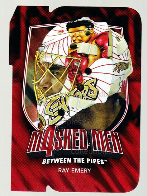 2011-12 Between The Pipes Masked Men 4 Ruby #16 Ray Emery<br/>6 In Stock - $3.00 each - <a href=https://centericecollectibles.foxycart.com/cart?name=2011-12%20Between%20The%20Pipes%20Masked%20Men%204%20Ruby%20%2316%20Ray%20Emery...&quantity_max=6&price=$3.00&code=592266 class=foxycart> Buy it now! </a>