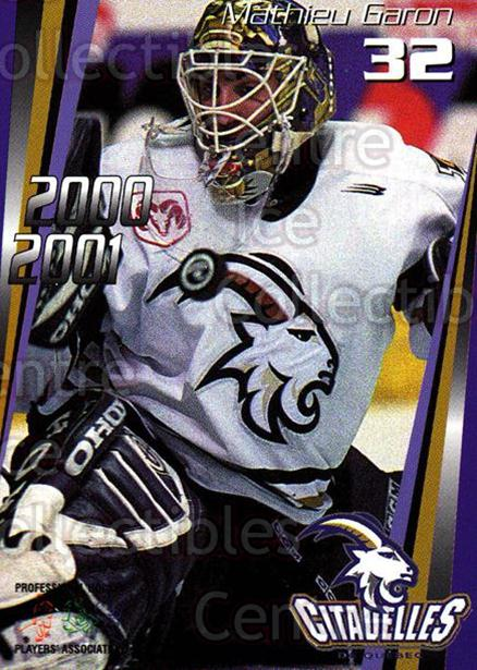 2000-01 Quebec Citadelles #15 Mathieu Garon<br/>1 In Stock - $3.00 each - <a href=https://centericecollectibles.foxycart.com/cart?name=2000-01%20Quebec%20Citadelles%20%2315%20Mathieu%20Garon...&quantity_max=1&price=$3.00&code=593274 class=foxycart> Buy it now! </a>