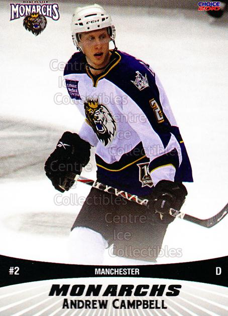 2010-11 Manchester Monarchs #2 Andrew Campbell<br/>1 In Stock - $3.00 each - <a href=https://centericecollectibles.foxycart.com/cart?name=2010-11%20Manchester%20Monarchs%20%232%20Andrew%20Campbell...&quantity_max=1&price=$3.00&code=593313 class=foxycart> Buy it now! </a>